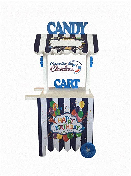 CARRITO DE CHUCHES Candy Cart Happy Birthday Azul.para Decorar.Reutilizable, Medidas 132CMS