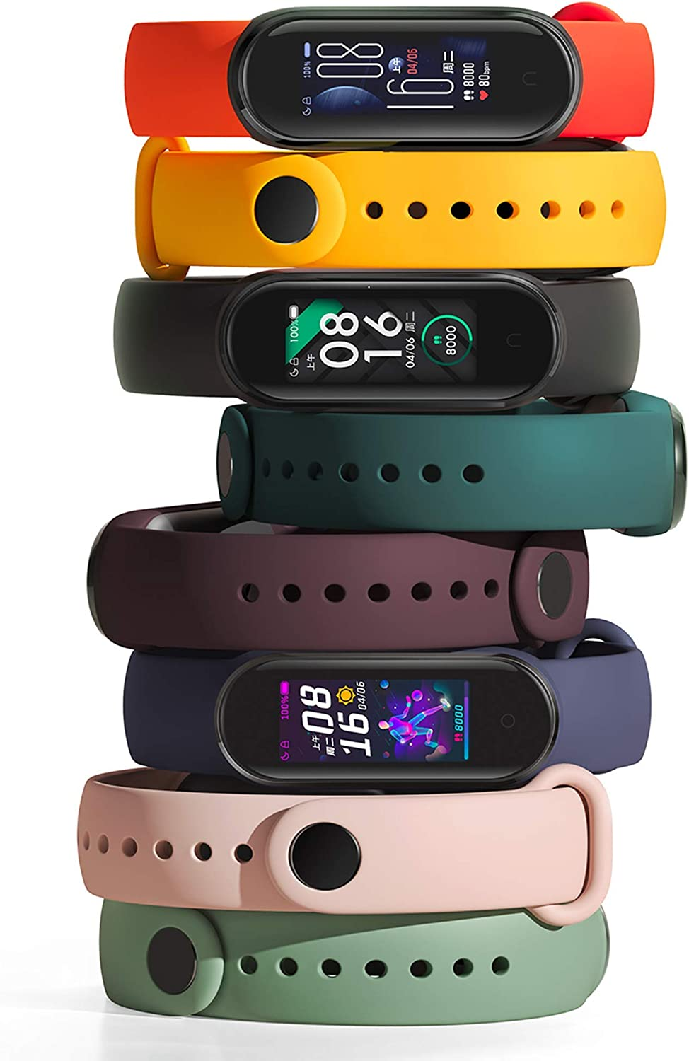 Xiaomi Mi Band 5 Smart Band Bracelet Magnetic Charge 4 Color 1.1 Touch Screen Fitness Tracker 24h Heart Rate Sleep REM Nap Step Swim Sport Monitor 5ATM Waterproof Miband 5 Global Version Black