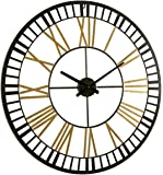 Large Metal Wall Clocks Large Decorative for Living Room Decor, 32 Inches Big Oversized Metal Clock Battery Operated