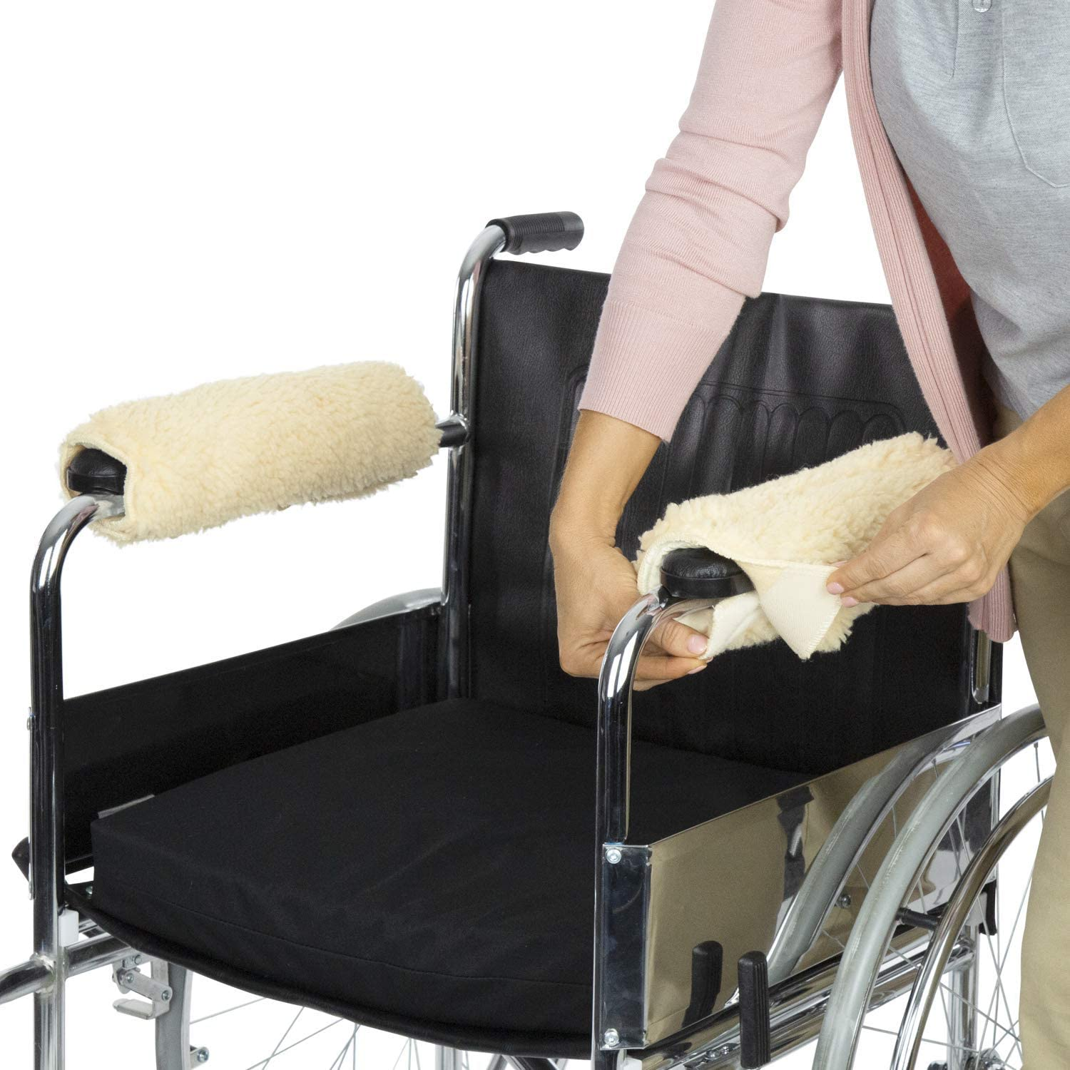 Rziioo Sheepskin Fleece Armrest Covers for Wheelchairs, Transport Chairs & Arm Chairs, Universal Fit, Washable, One Pair