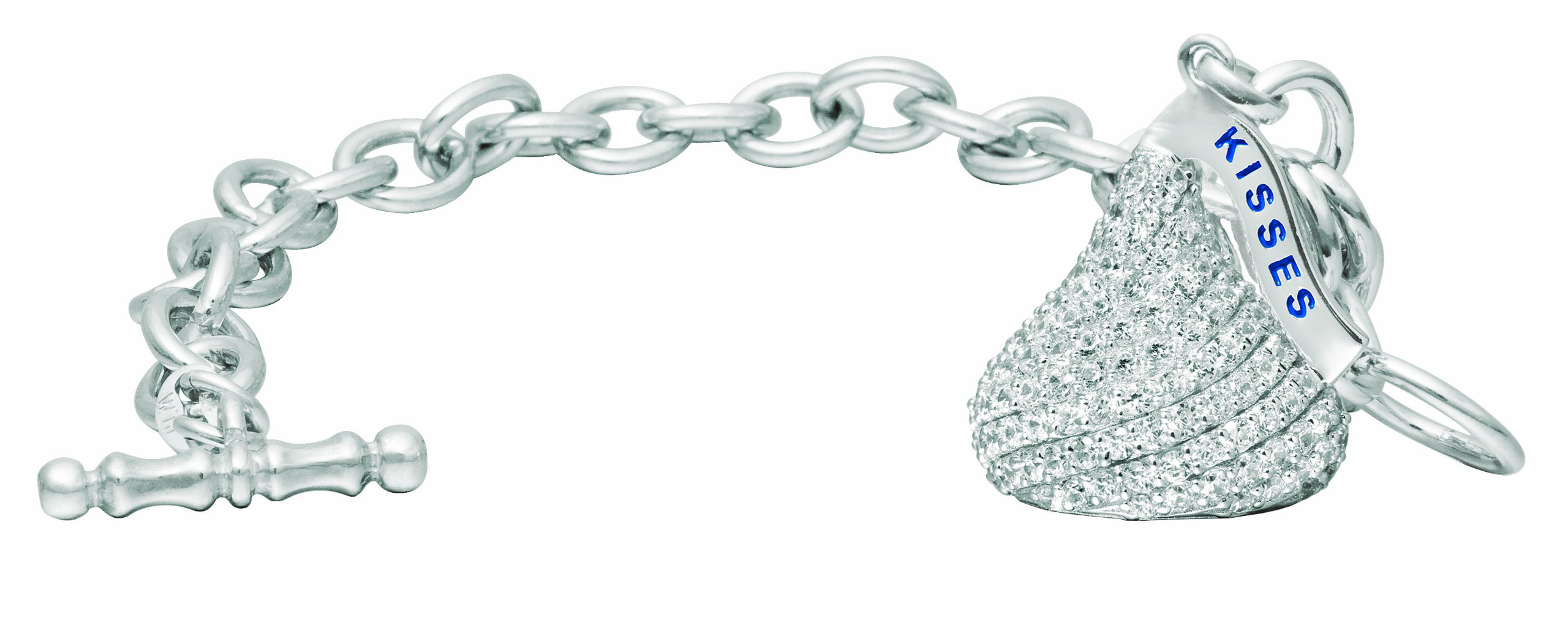 Hershey's Kiss Jewelry Sterling Silver with CZ Extra Large Flat Back Shaped Bracelet with One Charm