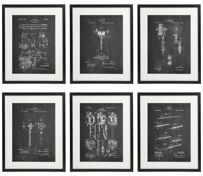 IDIOPIX Tattoo Patent Wall Decor Chalkboard Art Print Set of 6 Prints UNFRAMED