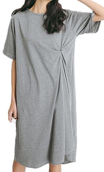 0d9d9b4c0bbb7 (エンジェルムーン) AngelMoon Tシャツ ワンピース 半袖 ひざ丈 無地 シンプル カジュアル ウエストマーク