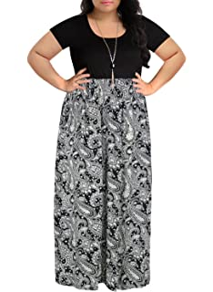 3981a9f0bc1 Nemidor Women s Chevron Print Summer Short Sleeve Plus Size Casual Maxi  Dress