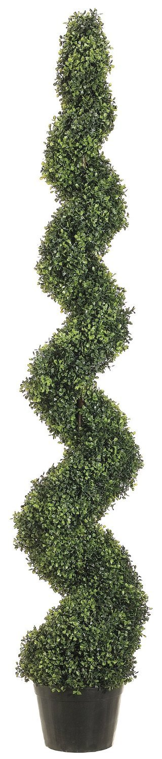 One 6 Foot 3 Inch Outdoor Artificial Boxwood Spiral Topiary Tree Uv Rated Potted Plant