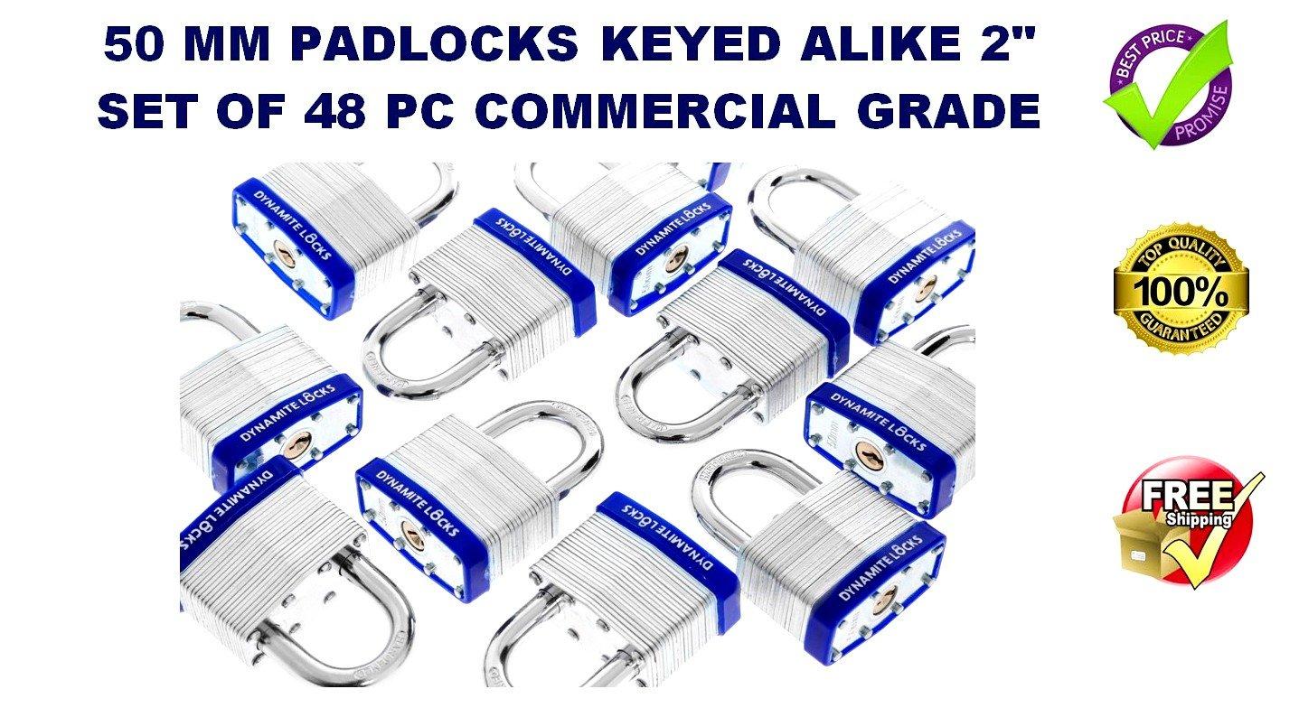 48 PC PIECE SET 50MM HEAVY DUTY DYNAMITE LOCKS KEYED ALIKE PAD LOCKS SHORT SHACKLE LAMINATED PADLOCK KEY ALIKE COMMERCIAL GRADE MULTIPLE PAD LOCKS KEYEDALIKE ALL THE SAME PADLOCKS …