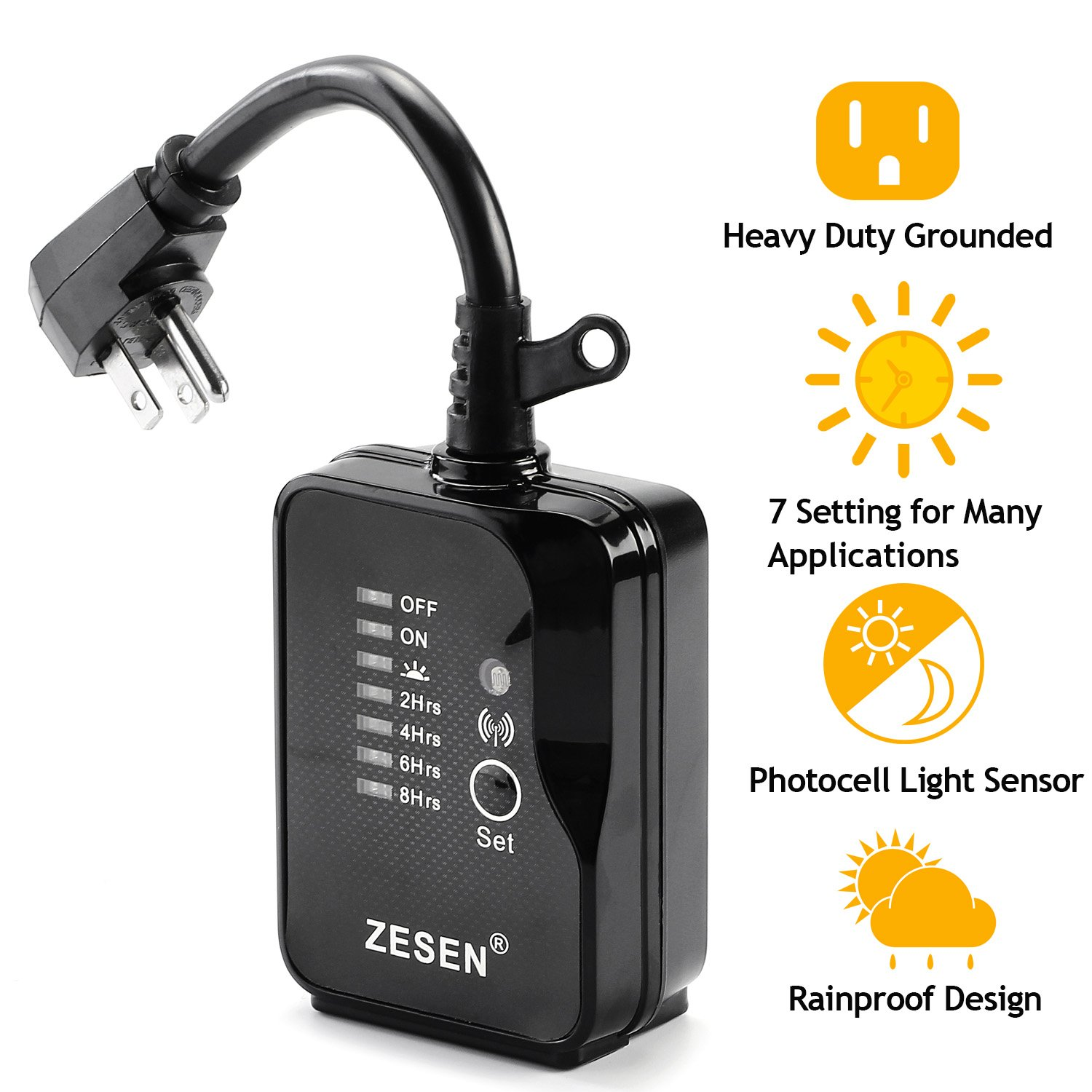 Zesen Remote Control Outlet Timer Switch Waterproof For Household Appliances,