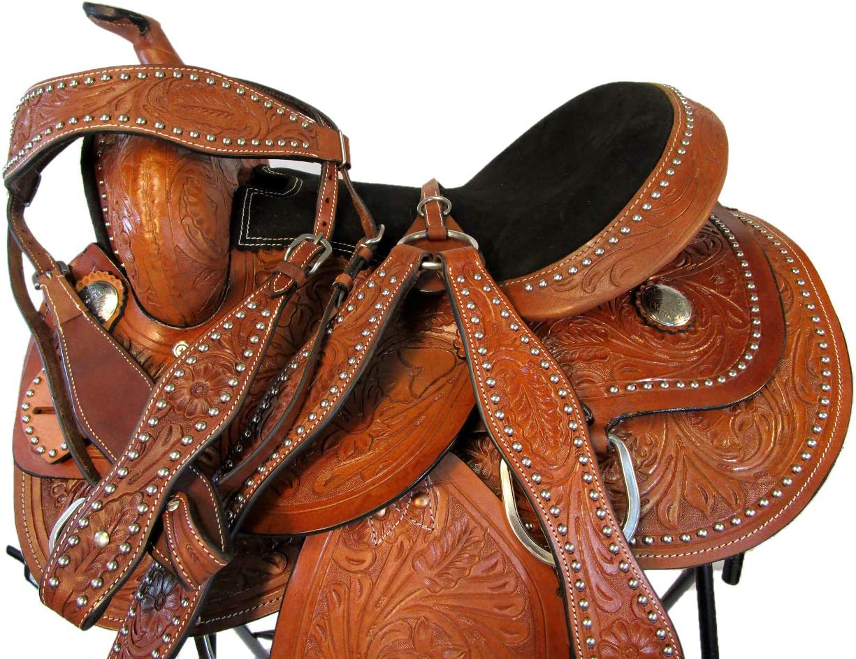 """Details about  /WESTERN HORSE SADDLE RODEO SHOW PREMIUM PLEASURE TRAIL TOOLED LEATHER SET 15 16/"""""""