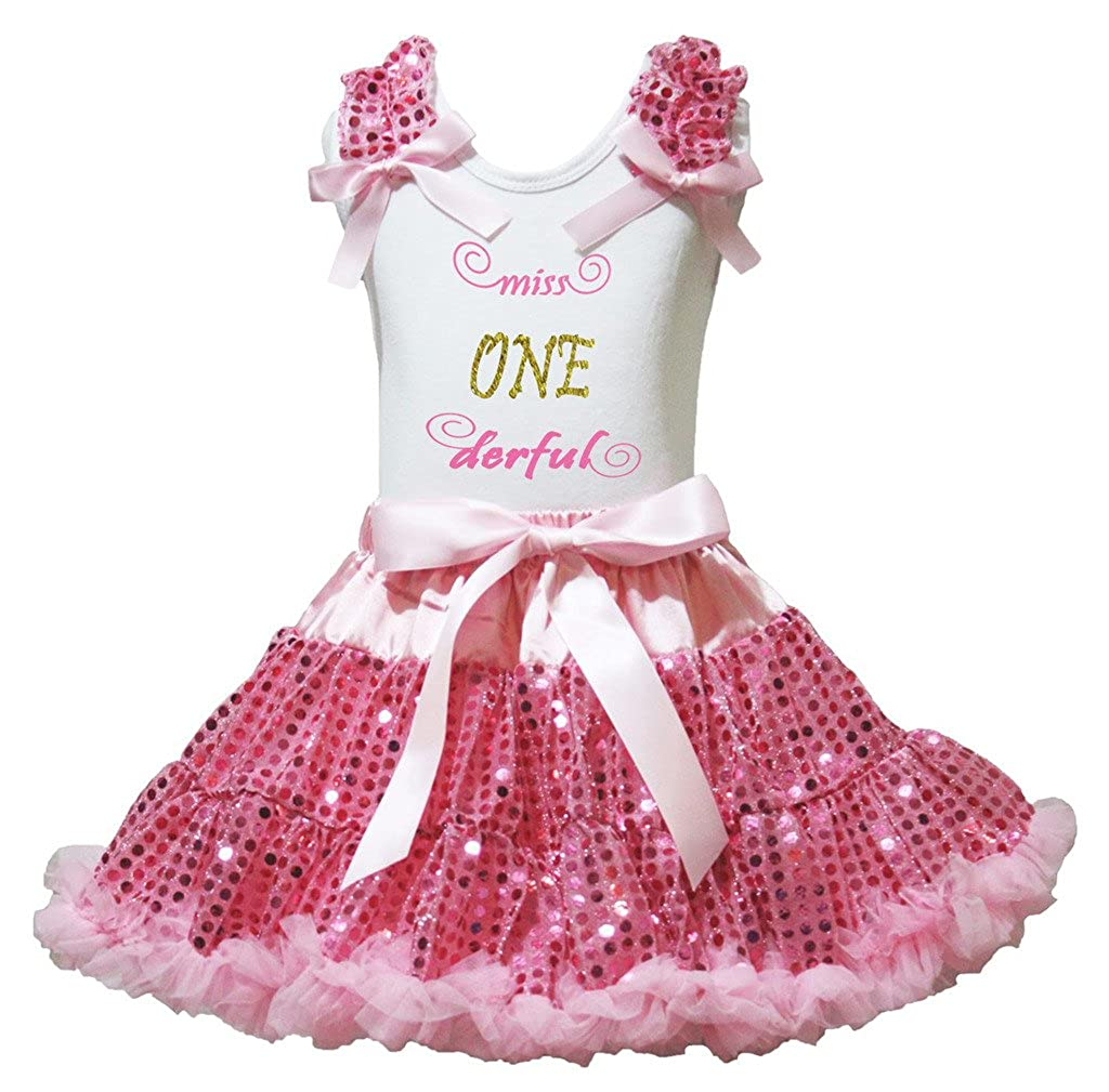 Petitebella Miss ONE Derful White Shirt Pink Sequins Skirt Set 1-8y