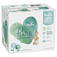 Diapers Size 2, 186 Count - Pampers Pure Protection Disposable Baby Diapers, Hypoallergenic...