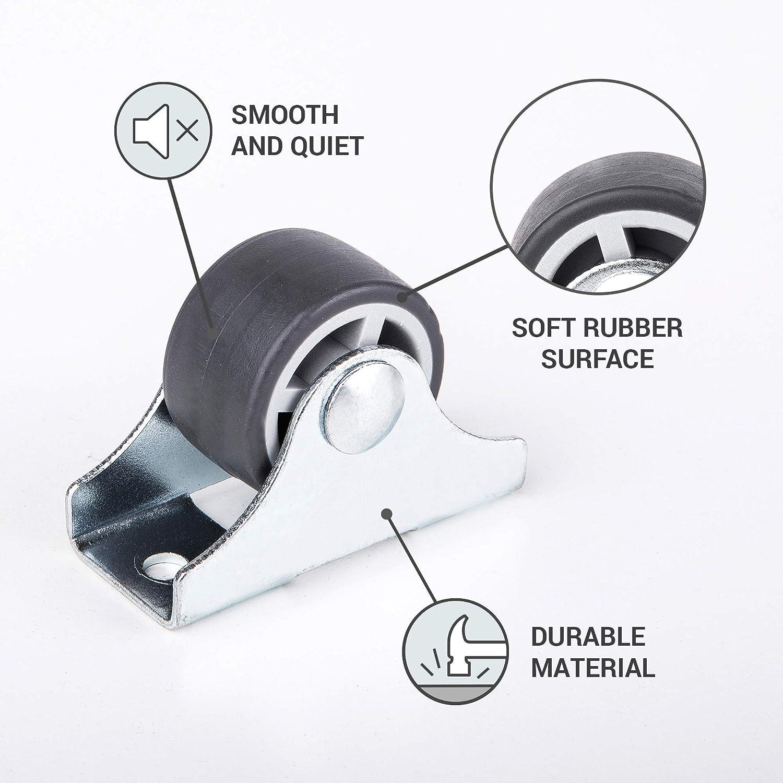 Juego de ruedas peque/ñas de 25 mm de grosor para carrito de mesa ruedas de goma no giratorias para muebles y mesas