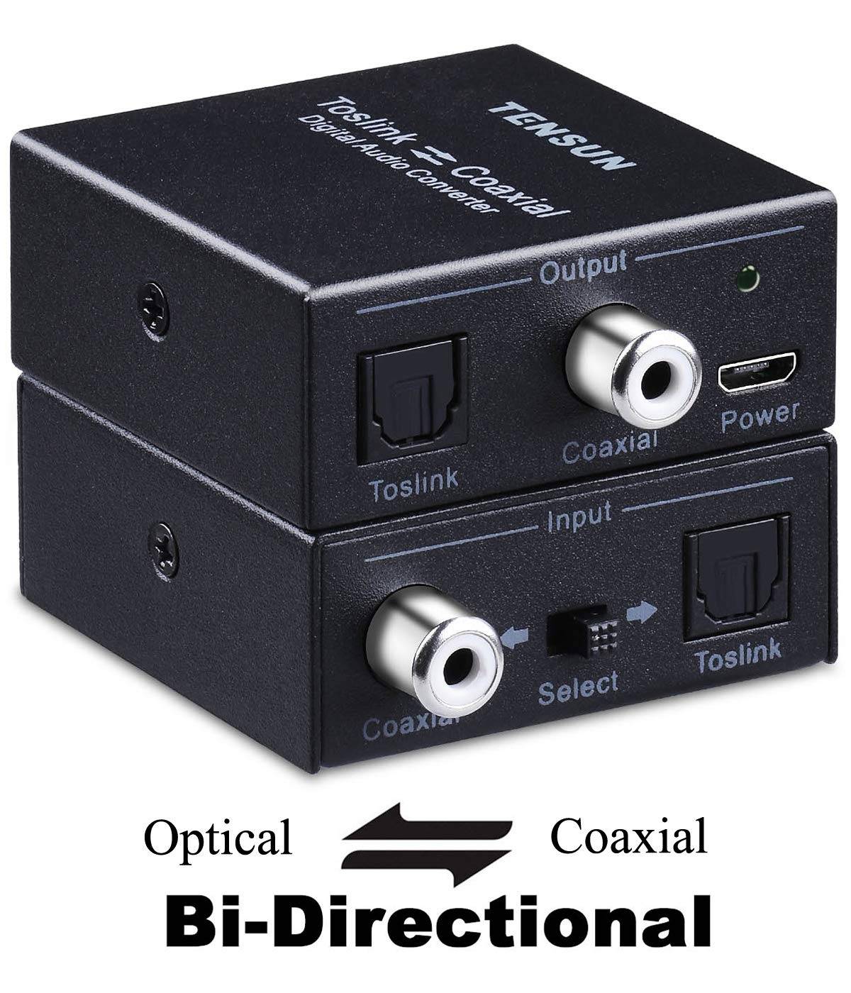 Tensun Optical to Coaxial Digital Audio Out Converter, Bi-Directional Coax Coaxial to Toslink SPDIF Optical Adapter Repeater 24bit/192K HD Sampling (Optical-to-coaxial and Coaxial-to-Optical)