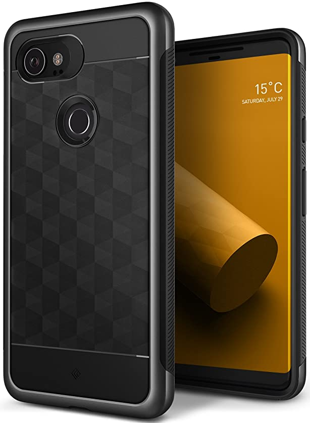 Google Pixel 2 XL Case, Caseology [Parallax Series] Slim Protective Dual Layer Cover Geometric Design for Google Pixel 2 XL (2017) - Charcoal Gray