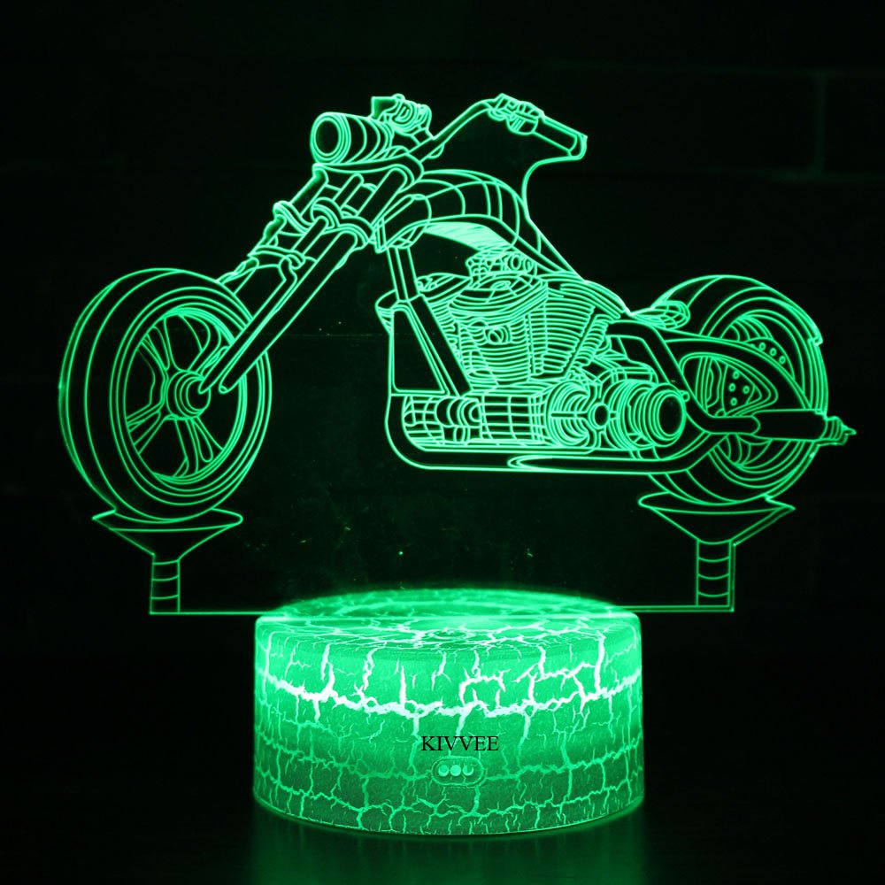 Visual 3D lamp motorcycle Illusion Night light Festival Birthday Day Children Gift Nursery Bedroom Desk Table Decoration for Boys Kids Music Lovers by KIVVEE