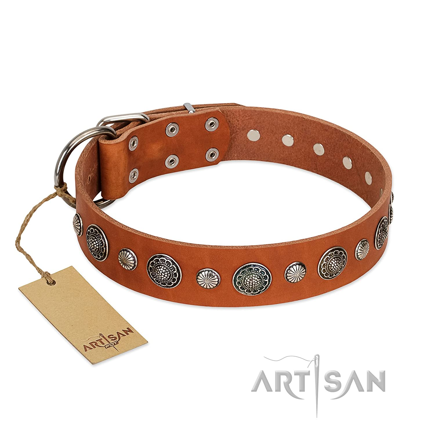 20 inch FDT Artisan 20 inch Tan Leather Dog Collar Vintage Elegance Exclusive Handcrafted Item 1 1 2 inch (40 mm) Wide Gift Box Included