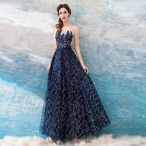 8aa40ae4beb7 YT-ER Abito da Sposa Lungo in Pizzo Blu Cristallo con Maniche Lunghe da  Donna