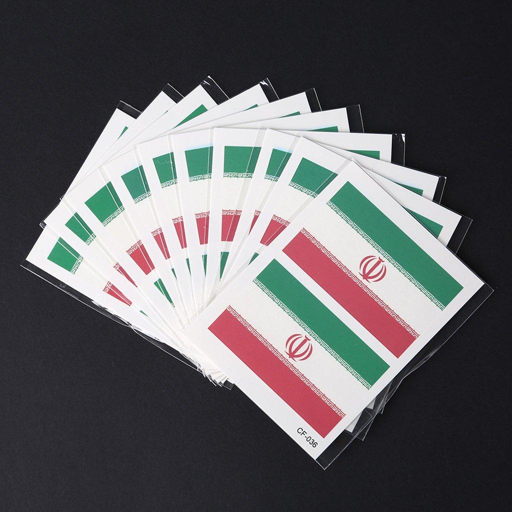 shaoge 10pcs 2018ロシアWorld Cup面腕National Flag用防水ステッカー2018 Cheer製品 B07CHCD5WH Iran Iran