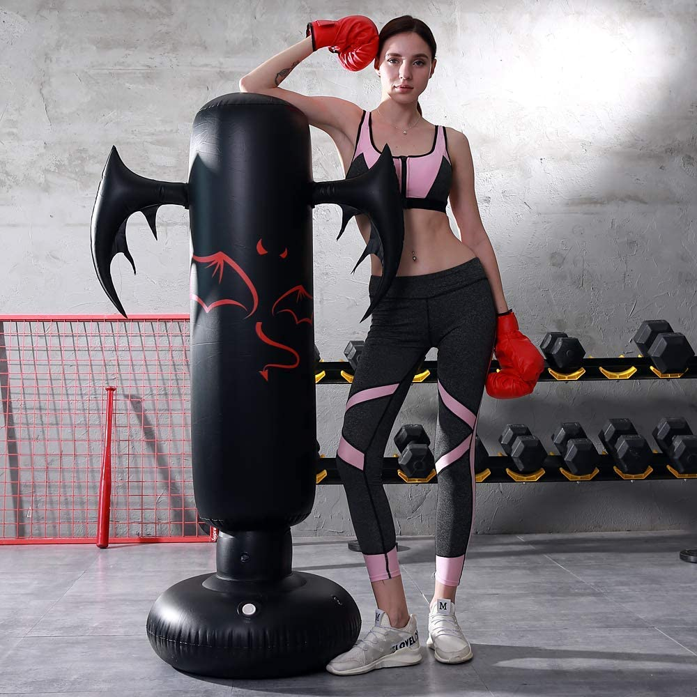 LONEEDY Gonflable autoportant Punching-Ball Diable Sac Lourd de Formation Adultes Adolescents Fitness Sport Stress Relief Boxe Cible