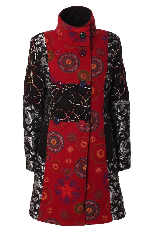 Mantel Herbst Winter mit Stehkragen & Patchwork Muster