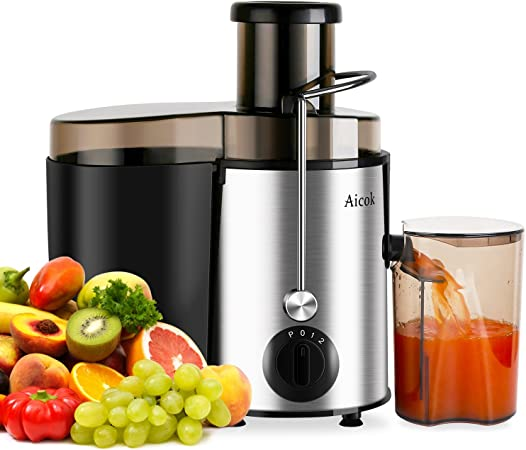 Aicok Juicer Juice Extractor Whole Fruit Juicer High Speed for Fruit and Vegetable Dual Speed Setting Centrifugal Fruit Machine Powerful 400 Watt with