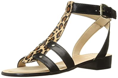 Nine West Women's Yippee Leather Dress Sandal, Black/Natural Multi, ...