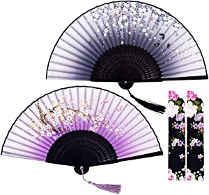 Amajiji Chinese Japanese Fans Folding Fans for Women, Bamboo Silk Hand Fan Handheld Fans, Perfect for Party, Wedding, Dancing, Decoration, Performance, Gift (2 Pack-Violet Black)