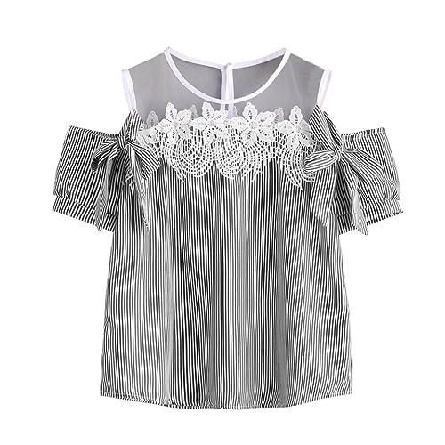 OverDose mujer camiseta atractivo sin hombros encaje rayad blusa tops