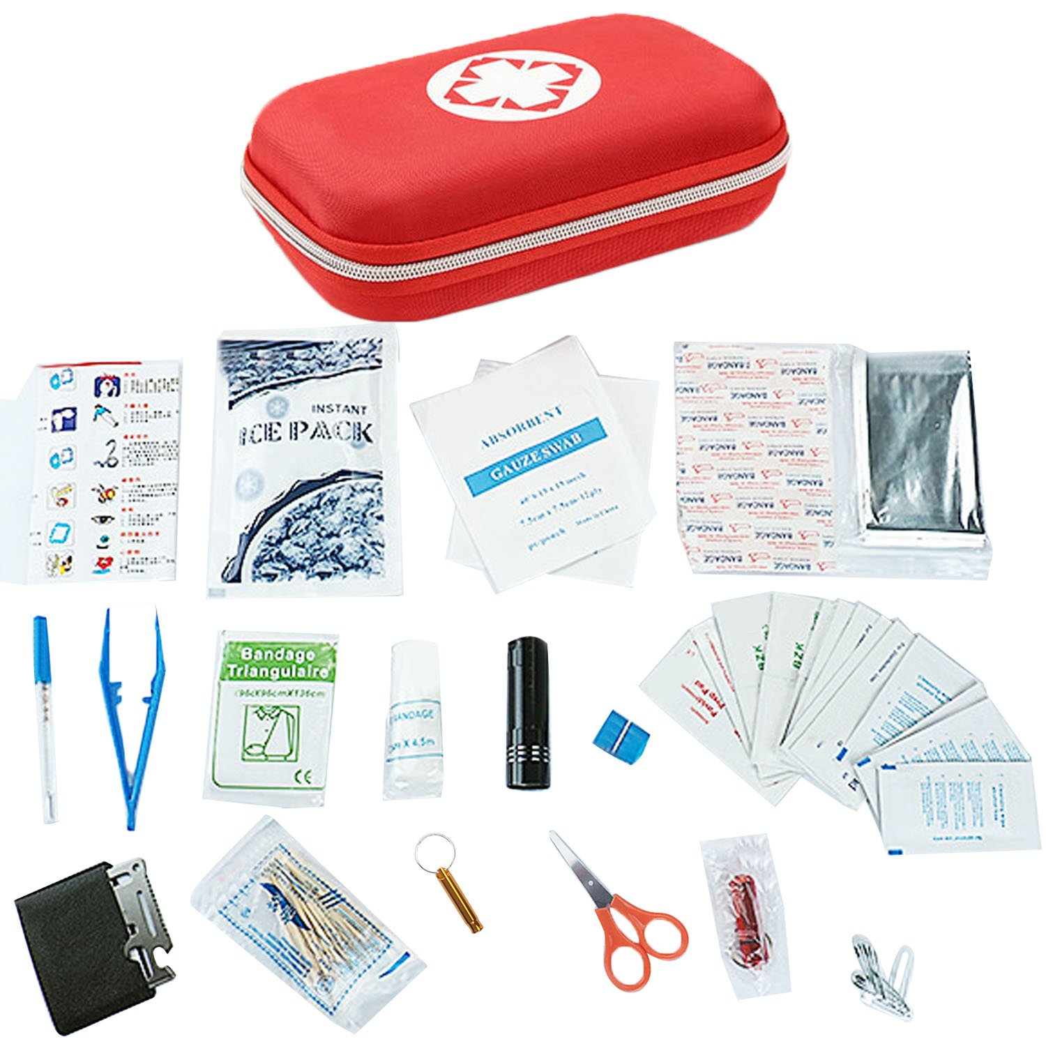 Gosear Portable Complete Mini First Aid Kit Including Cotton Swab Thermometer Alcohol Tablets Mini Flashlight Scissors Emergency Blanket for Home Hiking Camping Exploring Backpacking
