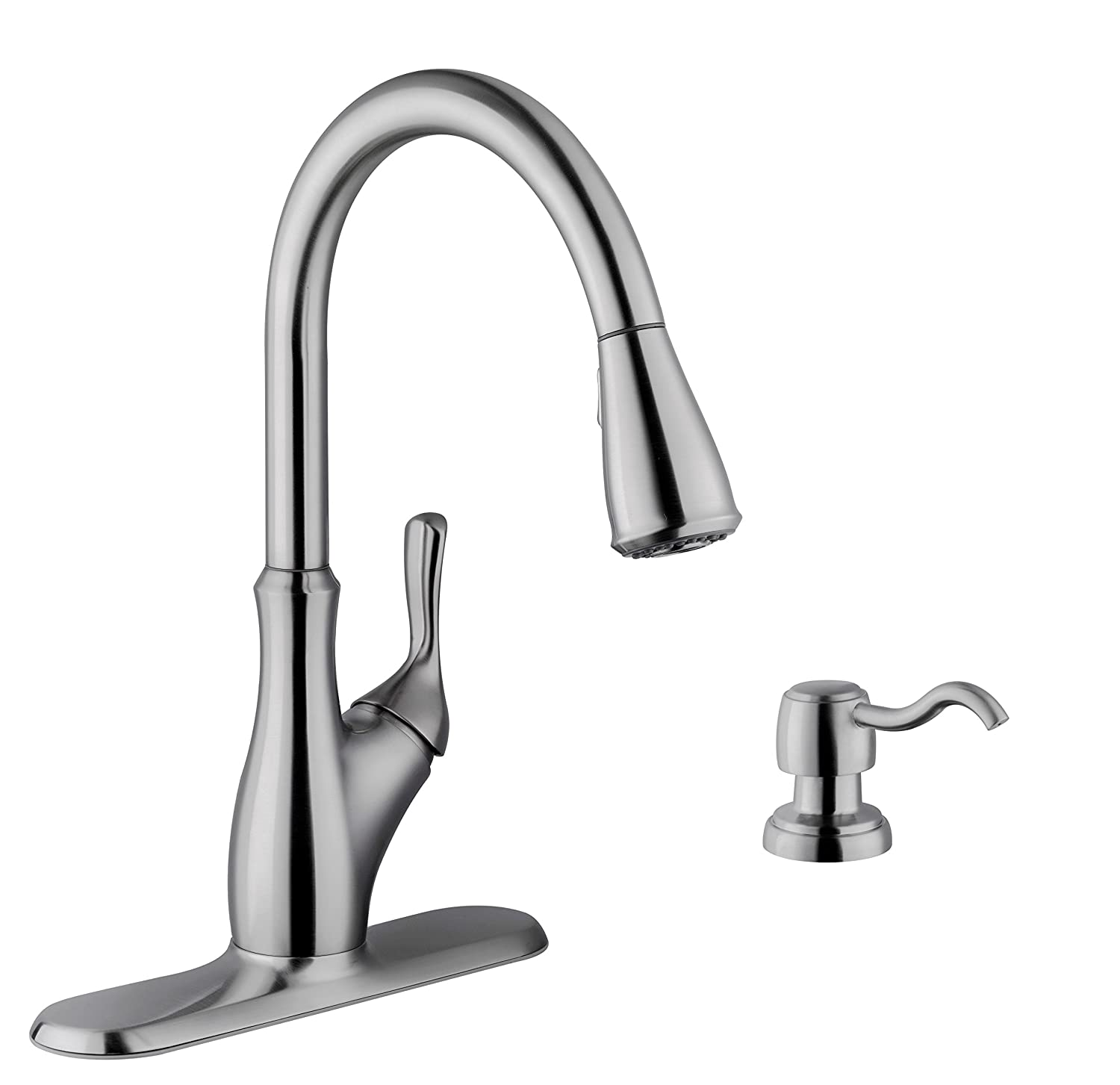 MS7636, Gooseneck kitchen faucet with pull out sprayer. Plus free soap  dispenser