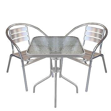 3 piezas Balcón Muebles Terraza BISTRO Set Aluminio Bistro ...