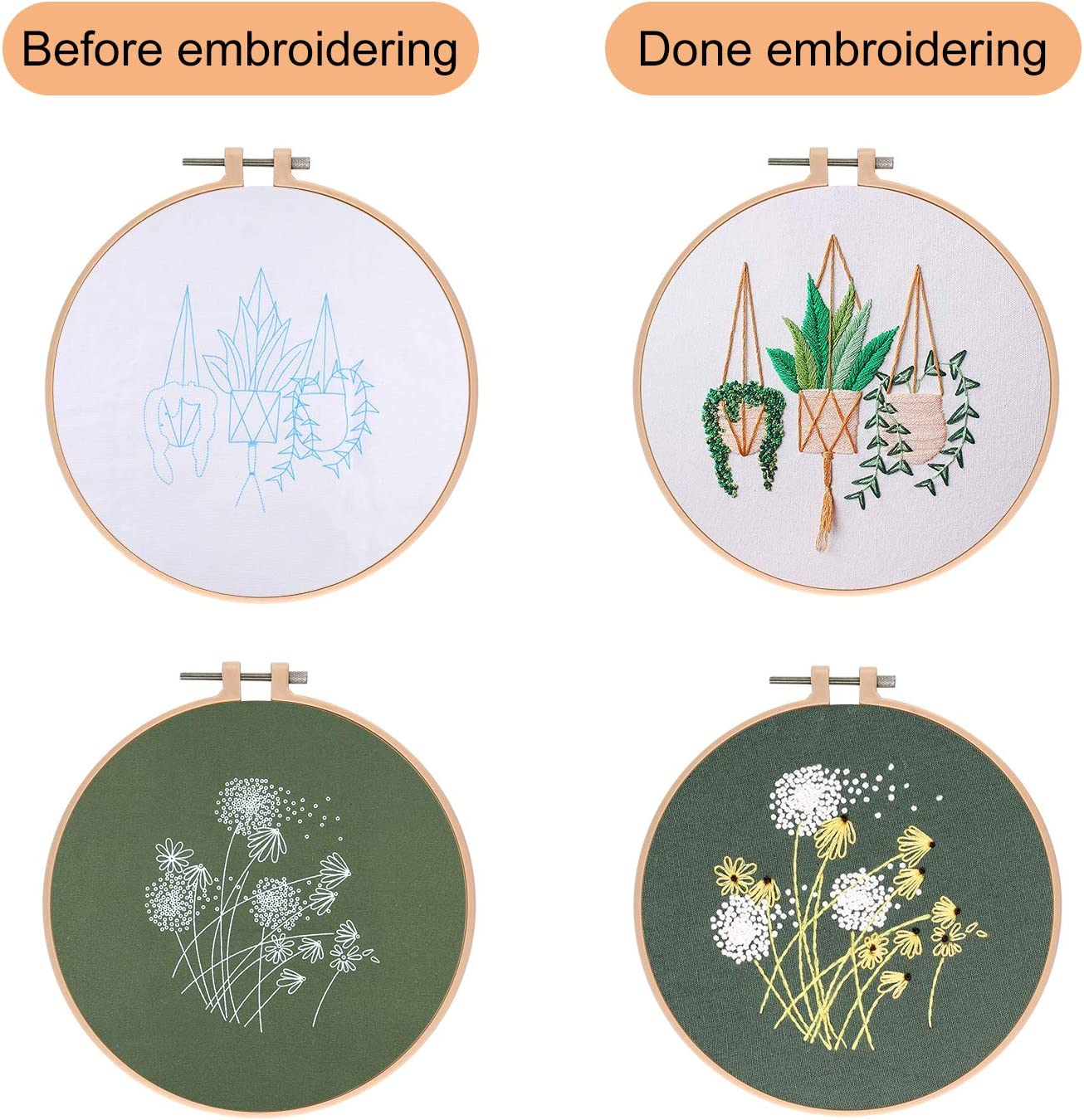 Color Threads Needle Kit 2 Pcs Plastic Embroidery Hoops KUUQA 7 Pcs Embroidery Starter Kit with Pattern and Instructions Cross Stitch Kit Including 4Pcs Embroidery Clothes with Floral Pattern