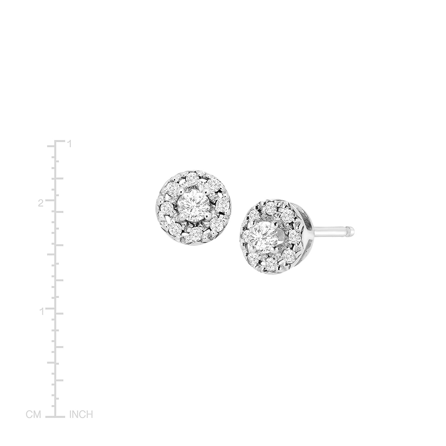 38669cb79 Amazon.com: 1/4 ct Diamond Round Halo Stud Earrings in Sterling Silver:  Jewelry