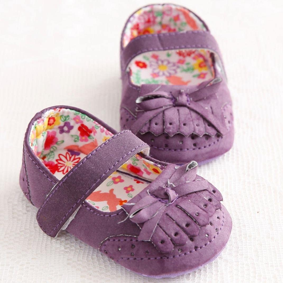 Voberry Baby Girl Bow-knot Tassel Leather Shoe Anti-slip Soft Sole Toddler Crib Shoes