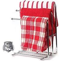 Vrijstaand handdoekenrek chroom,handdoekenrek standaard voor badkamer,roestvrijstalen vaatdoek droogrek met 3 staven…
