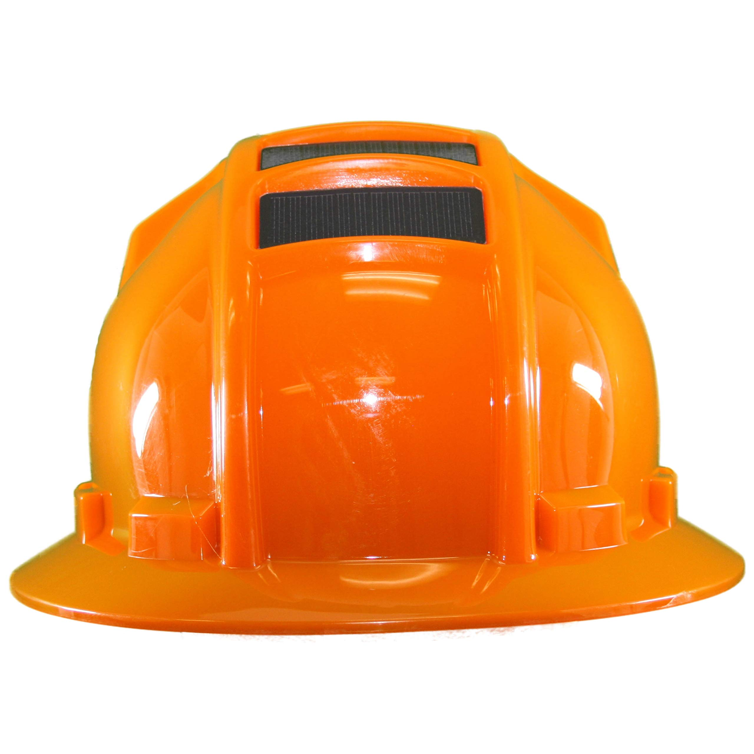 Hard Hat Head Protection Kool Breeze Solar Helmet With Rechargeable Battery and Adjustable Ratchet Suspension (Orange)
