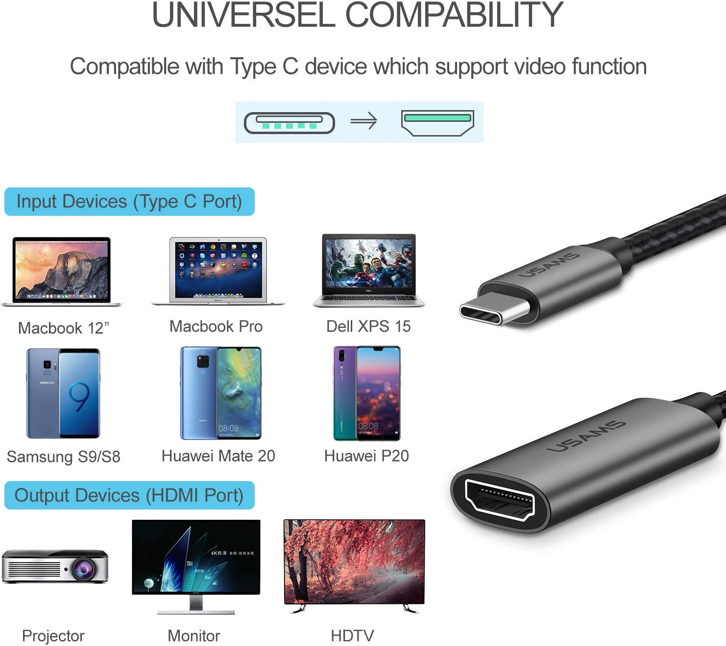 ,USB Type-C to HDMI Adapter Samsung Galaxy S10//S9,Surface Book 2-6FT Black USAMS USB C to HDMI Cable 4K@60Hz Thunderbolt 3 Compatible for MacBook Pro 2018//2017,MacBook Air//iPad Pro 2018