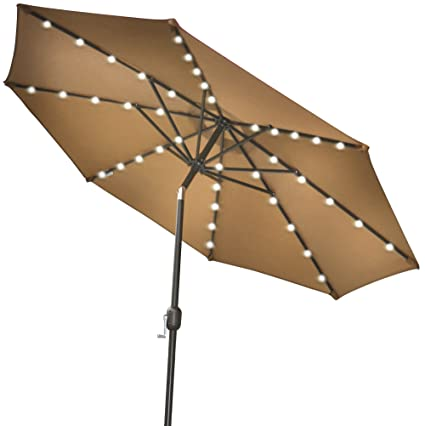 STRONG CAMEL 9u0027NEW SOLAR 40 LED LIGHTS PATIO UMBRELLA GARDEN OUTDOOR  SUNSHADE MARKET