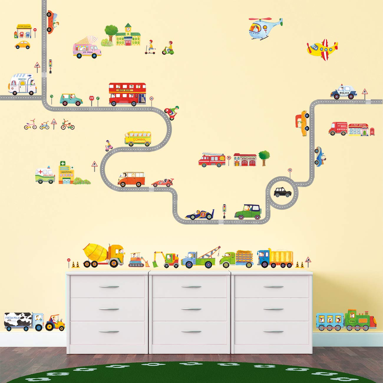 Decowall DAT-1404P1405 The Road and Transports Kids Wall Decals Wall Stickers Peel and Stick Removable Wall Stickers for Kids Nursery Bedroom Living Room by Decowall (Image #3)