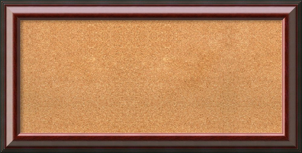 Framed Cork Board, Choose Your Custom Size, Cambridge Mahogany Wood: Outer Size 41 x 21''