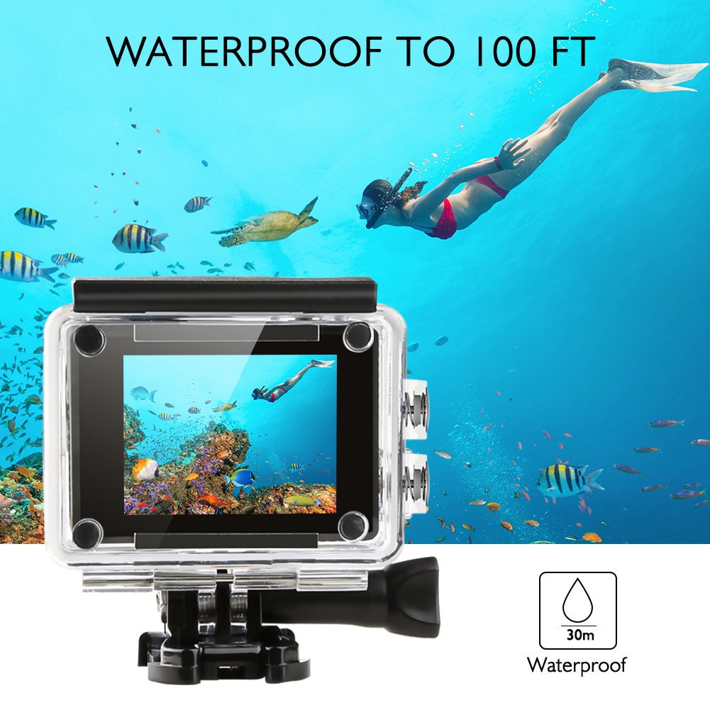 AKASO V50 Real 4K/30fps 20MP Action Cam WiFi Action Kamera mit Bildstabilisierung, Ultra HD 30m Unterwasserkamera mit Fernbedienung, 170°Weitwinkel, 2 wiederaufladbare Batterien und Montagezubehör Kit