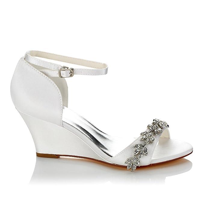 JIA JIA Chaussures de Mariée Pour Femme 121755B Open Toe Talon Compensé  Strass de Pompes en 01b5a876edb