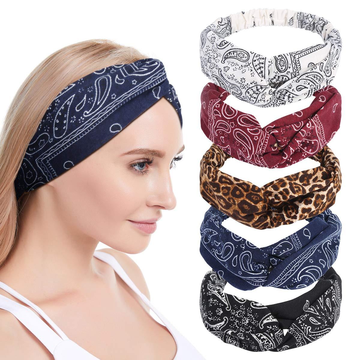 Amazon.com : Makone Headband Bandana for Women, 5pcs Women's Headbands,  Printed Headband Soft, Boho Knot Headbands, Vintage Flower Hair Band, Yoga  Running Turban Hair Accessories : Beauty