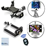 Universal Tablet Tripod Mount + Universal Smartphone Mount + Bluetooth Remote for All iPhone and iPad Devices with eCostconnection Microfiber Cloth