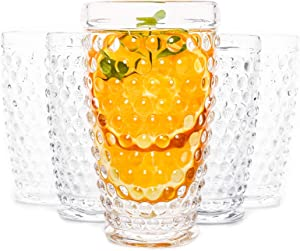Clear Hobnail Glasses Tumbler - Old Fashioned Vintage Drinking Glasses Sets - for Refreshments, Soda & Juice, Perfect for Dinner Parties, Bars & Restaurants, 13oz, Set of 6 (Clear, Tumbler(Tall))
