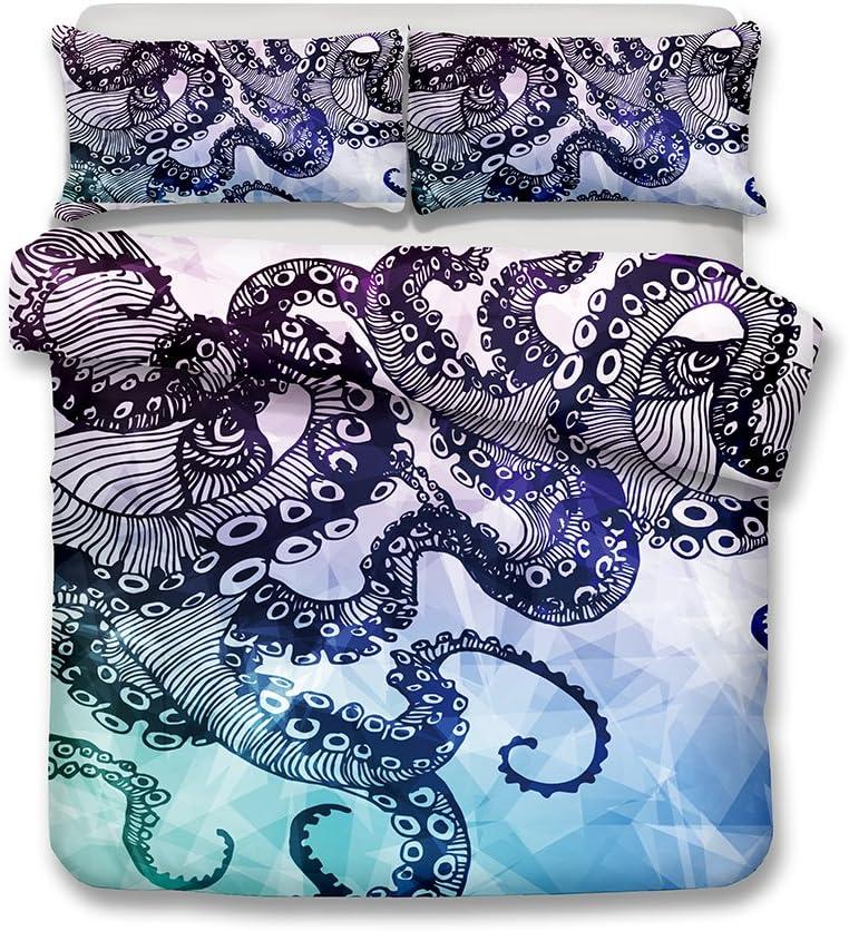 Twin helengili 3D Digital Printing bedding set octopus Le poulpe bedding bedclothes duvet cover sets bedlinen 100/% Microfiber gift present