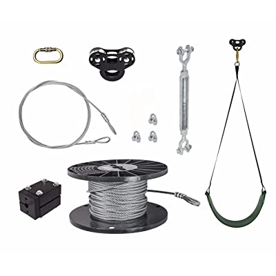 50 FT Black Raptor Zip Line Kit - Includes Swing Seat and Stop Block: Toys & Games