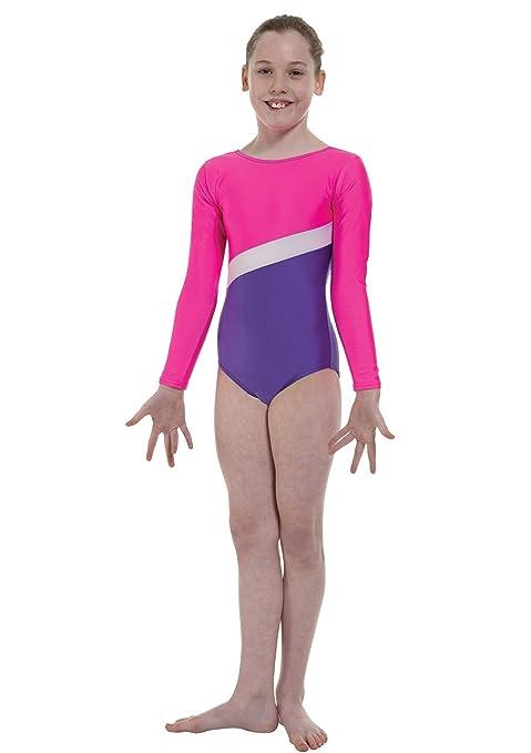 GYM19 Colore: Rosa o Viola Tappers /& Pointers Body da Ginnastica in Lycra con Strisce Laminate