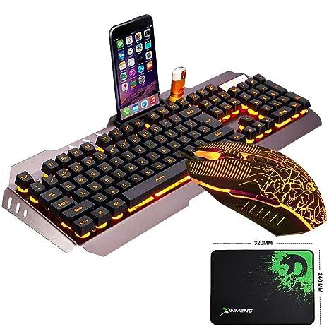 LexonElec@ Technology Keyboard Mouse Combo Gamer Wired Orange Yellow LED Backlit Metal Pro Gaming Keyboard