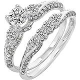 IGI CERTIFIED 1.45 Carat (ctw) 14K White Gold Round Diamond 3 Stone Bridal Engagement Ring Set 1 1/2 CT