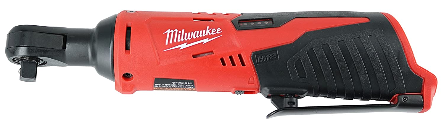 "#1 - Milwaukee 2457-20 M12 Cordless 3/8"" Sub-Compact 35 ft-Lbs 250 RPM Ratchet w/ Variable Speed Trigger"